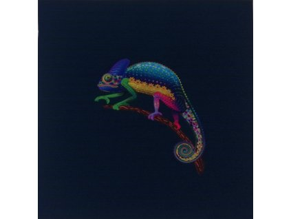 Softshellový zimní panel Spokojený chameleon 20x20cm