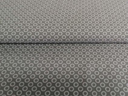 Bavlněné plátno Bílé kroužky na šedé