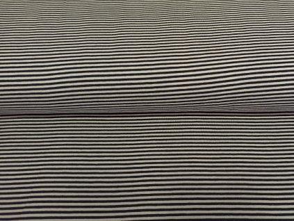 Bavlněný úplet s elastanem Tmavě modro-bílé proužky