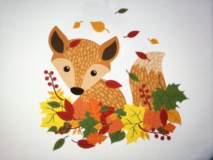 Panel Podzimní lištička 50x50 teplákovina