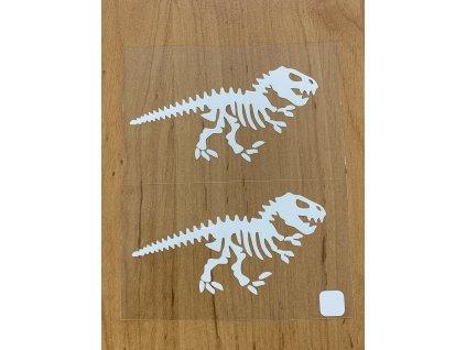 Bílé nažehlovací obrázky - kostra dinosaura