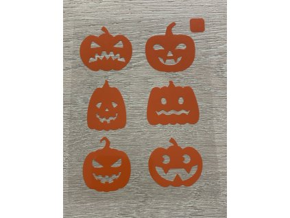 Oranžové nažehlovací obrázky - strašidelné dýně