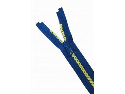 Zip YKk modrý s neon žlutými zoubky