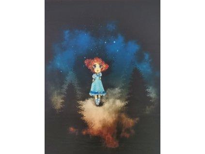 Dívka v nočním lese 48x58cm prémiová počesaná teplákovina