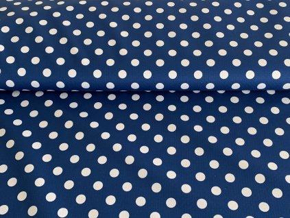 Puntíky bílé 1,2cm na námořnicky modré
