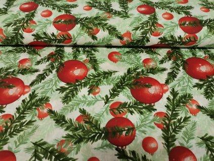 Bavlněné plátno Červené koule větvičky