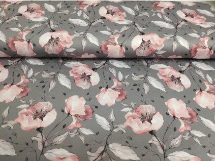 Prémiová počesaná teplákovina - Divoké růže na šedé