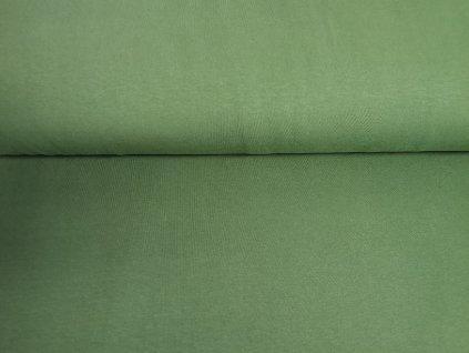 Bavlněný úplet s elastanem Tmavě olivový 200g/m2