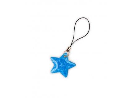 Taháček na zip reflexní Hvězda tyrkysová