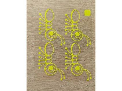žluté obrysy mravenců