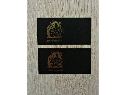 Etiketa do švu černá - Morče - jsem originá_103l (zlaté) (z24)