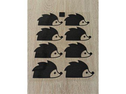 Černé nažehlovací obrázky - ježci 8 ks