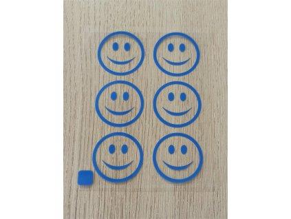 Neonové nažehlovací obrázky - obrysy smajlíků modré