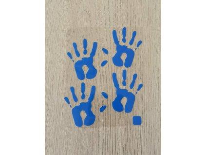 Neonové nažehlovací obrázky - otisky rukou modré