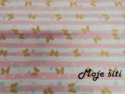 Jarní softshell Motýlci a růžové průžky