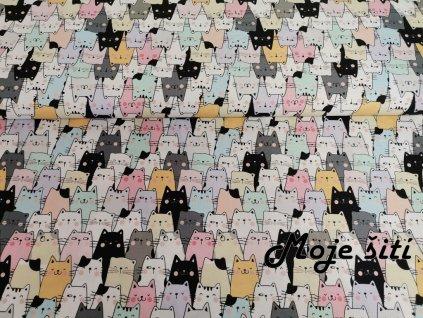 Prémiová počesaná teplákovina - Pastelové kočky