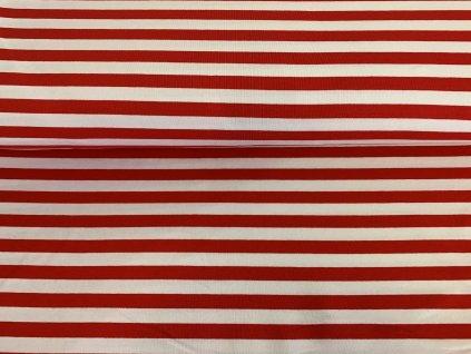 Teplákovina s elastanem Červené pruhy na bílé