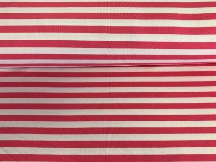 Teplákovina s elastanem Růžové pruhy na bílé