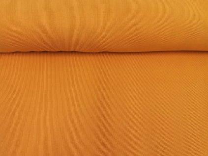 Bavlněný náplet s elastanem Okrový 2x2 žebro K