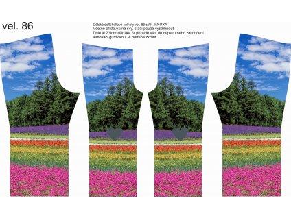Panel na softshellové kalhoty vel.86 Letní louka + srdíčka