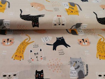 Bavlněné plátno Kočky s mlékem
