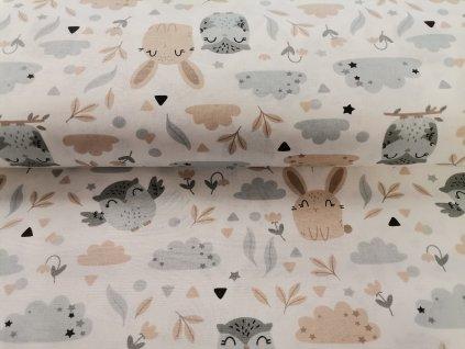 Bavlněné plátno Sovičky a zajíčci