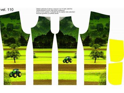 Panel na softshellové kalhoty vel.110 Traktor na louce s kapsami