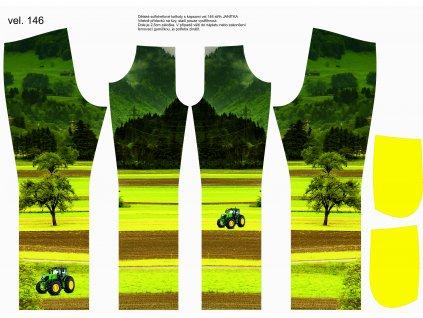Panel na softshellové kalhoty vel.146 Traktor na louce s kapsami