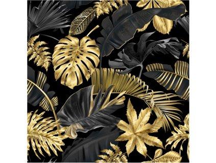 Zimní softshell Zlaté listy - digitální tisk