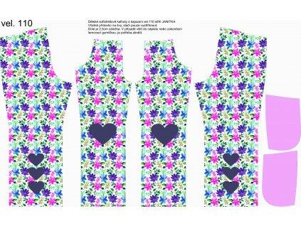 Panel na softshellové kalhoty vel.110 Květy se srdíčky