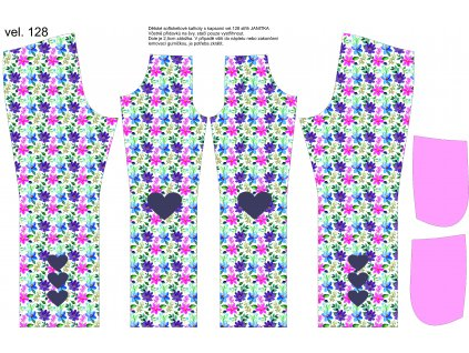 Panel na softshellové kalhoty vel.128 Květy se srdíčky