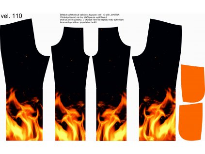 Panel na softshellové kalhoty vel.110 Oheň