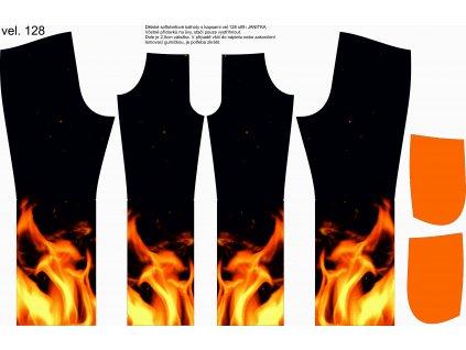 Panel na softshellové kalhoty vel.128 Oheň
