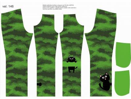 Panel na softshellové kalhoty vel.146 Světle zelený maskáč