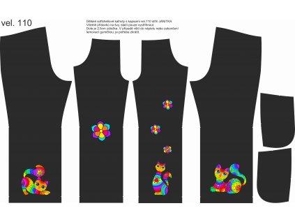 Panel na softshellové kalhoty vel.110 Pestrobarevné kočky
