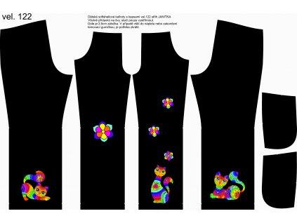 Panel na softshellové kalhoty vel.122 Pestrobarevné kočky