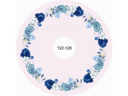 Panel na kolovou sukni Modrobílé růže na smetanové  122-128