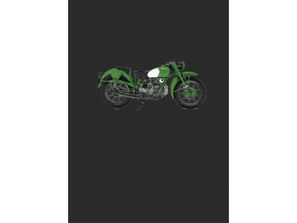 zelená motorka 50x70