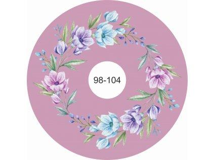 kolová sukně akvarelové květy na tmavé starorůžové 98 104