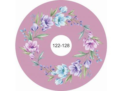 kolová sukně akvarelové květy na tmavé starorůžové 122 128