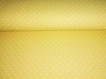 Bílé puntíky na pastelově žluté