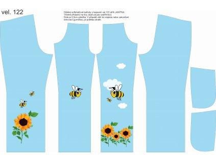 Panel na softshellové kalhoty vel.122  Včelky a slunečnice