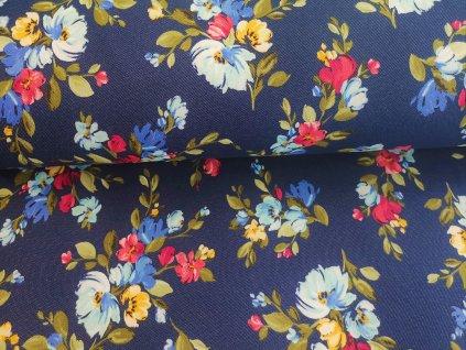 Květy na tmavě modrém jeansu