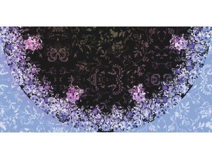 Panel na půlkolovou sukni Květinová louka modrofialová