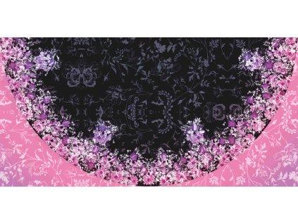 Panel na půlkolovou sukni Květinová louka růžová