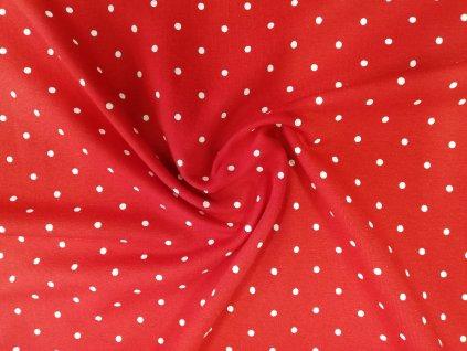 Teplákovina s elastanem Bílé puntíky na červené
