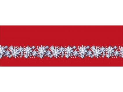 Bílé vločky na červené 50x150