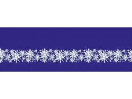 Bílé vločky na modré 50x150