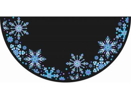 Půlkolová sukně ledové vločky na černé