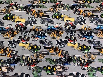 Zimní  softshell -  Traktory a bagry na šedé